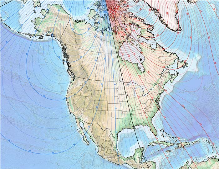 North References For Navigating With Map Compass And GPS - 2017 magnetic declination map of the us