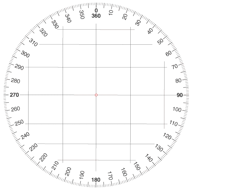 Plotting a bearing on a map using a protractor