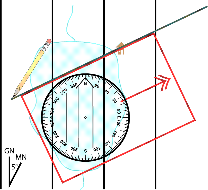 Drawing Lines In Autocad Using Bearings : Plotting a bearing on map using baseplate compass