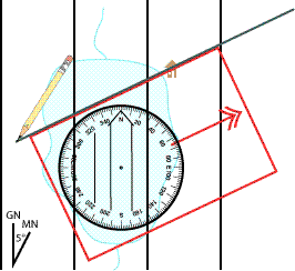 Draw the bearing line using the edge of the compass
