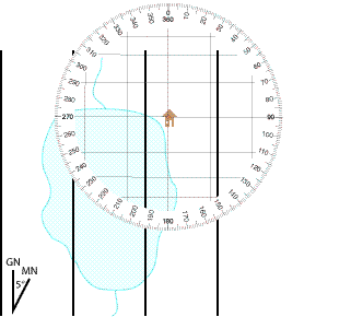 Rotate the protractor to align it with north