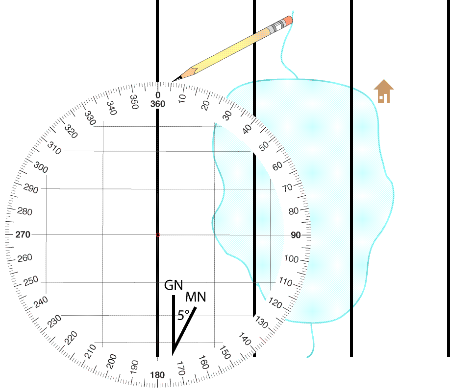 Plotting A Bearing On A Map Using A Round Lensatic Compass