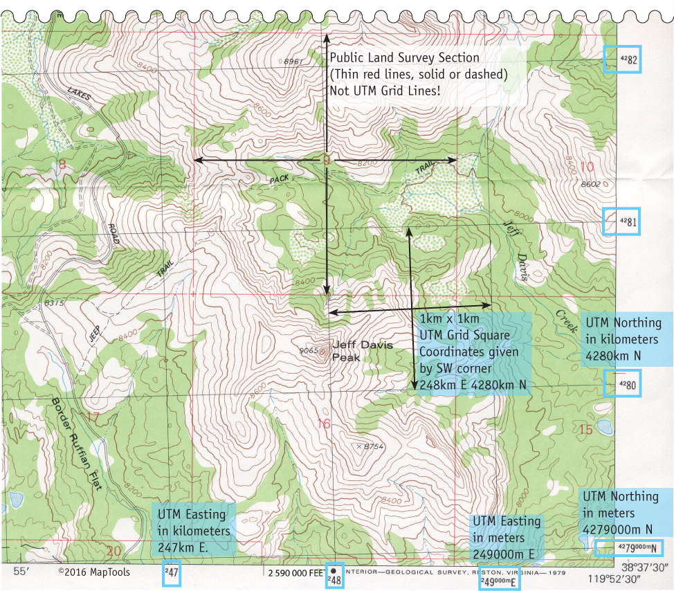 UTM Coordinates On USGS Topographic Maps - Us counties coordinates
