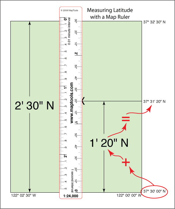 Measuring latitude with a map ruler